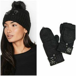 NWT VS sparkle pom-pom hat & gloves set black